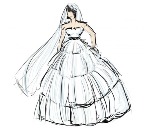How to Draw a Wedding Dress