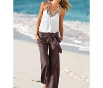 Simple Casual Style with Linen Pants for Women