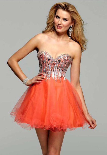Orange Poofy Prom Dresses - Long Dresses Online