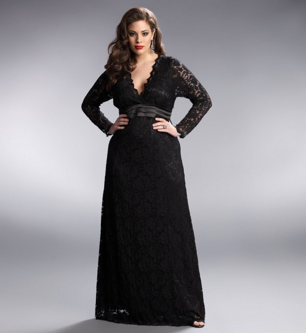 Plus size black wedding dress