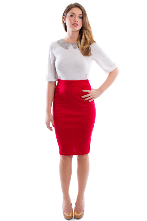 What To Wear With A Red Pencil Skirt
