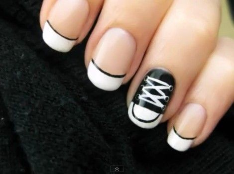 Black And White Nail Design for Short Nails