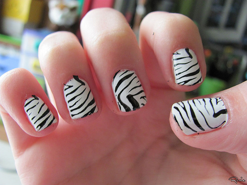 Black And White Toe Nail Design