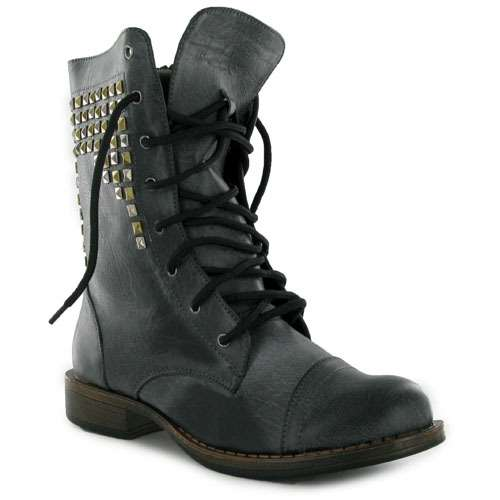 Luxury Womens Knee High Lace Up Buckle Fashion Military Combat Boots PU-Leather Riding