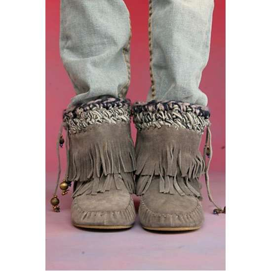 Moccasin Boots For Women With Fringes
