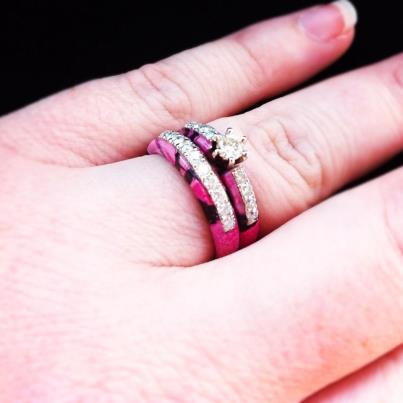 Pink Camouflage Wedding RIngs