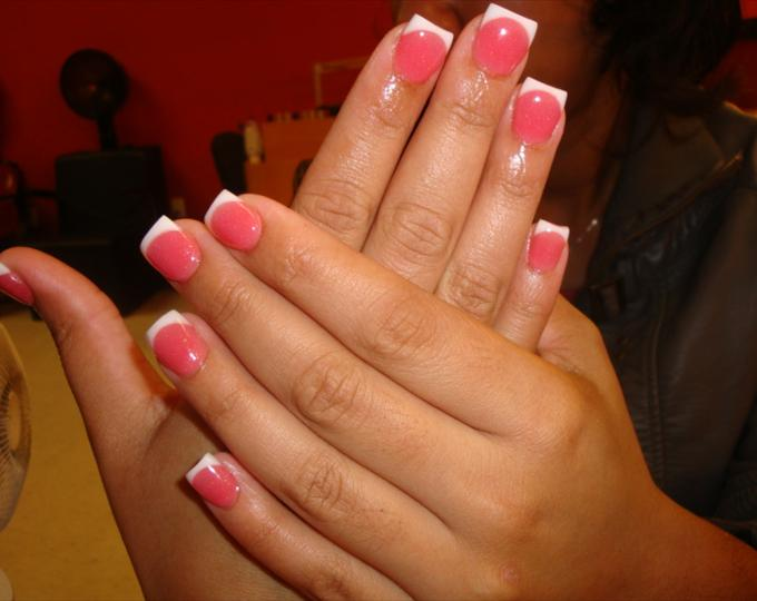 Pink and White Set Nails