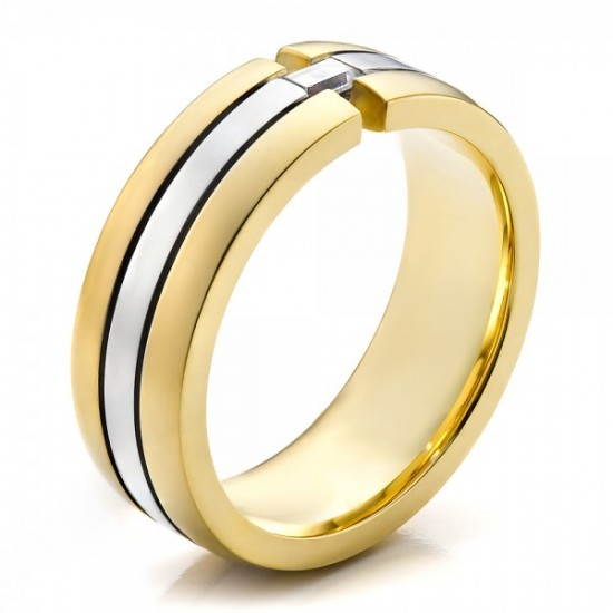 Two Tone Mens Wedding Bands