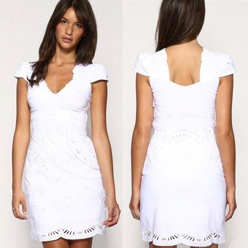 White Cocktail Dresses With Sleeves
