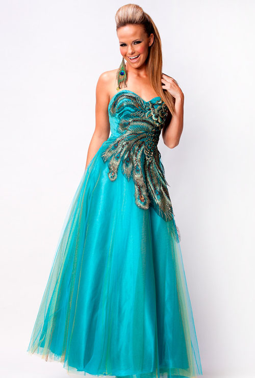 Peacock blue prom dress fashion belief for Prom dress as wedding dress