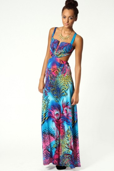 Peacock Maxi Dress Boohoo