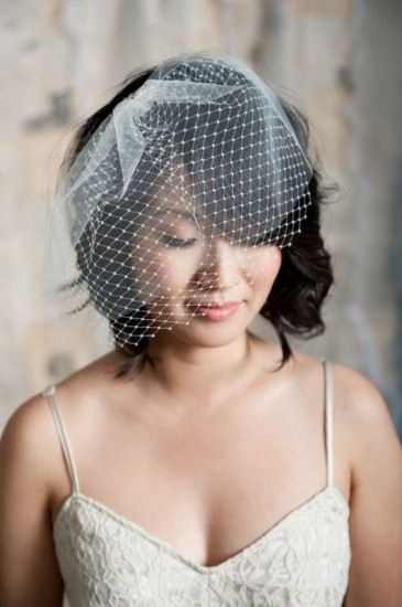 Short Wedding Hair With Veil
