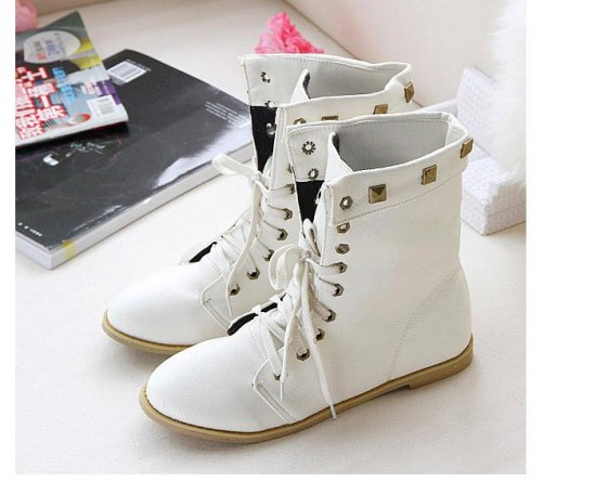 White Boots For Women Flat