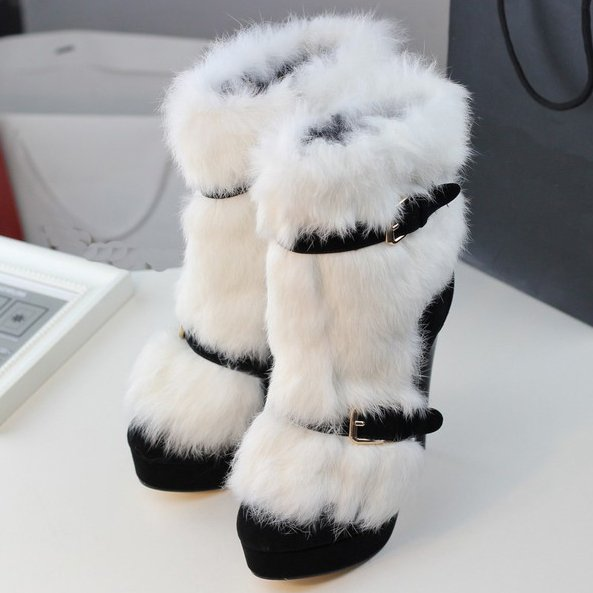 White Boots For Women With Fur