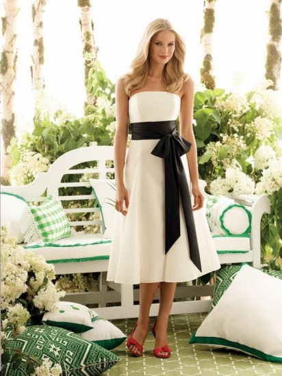 White Wedding Dress Black Belt