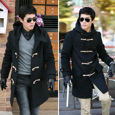 Wool Pea Coat With Hood For Men