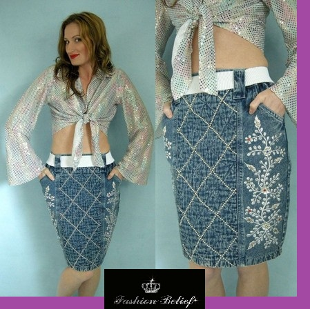 embroidered-ladies-denim-skirt