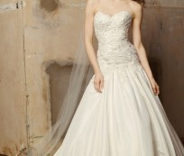 A wedding dress for a tall and slender bride