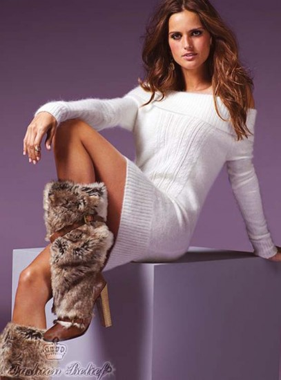 fur boots with a dress
