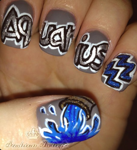aquarius nail art