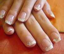 French Manicure with Crystals
