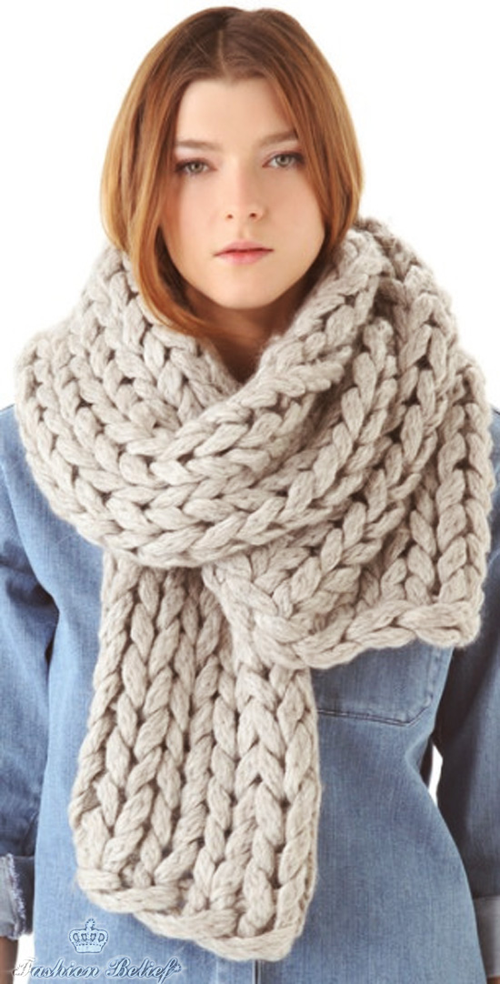 Knitting Pattern For Yarn Over Scarf : knitted-scarf Fashion Belief