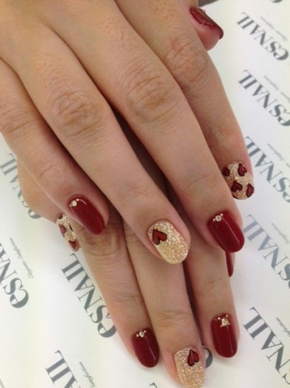 red-and-gold nail art