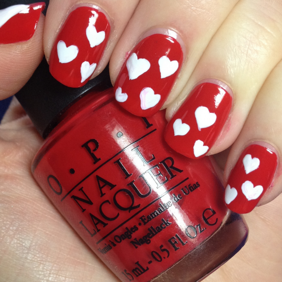 red-and-white nail art
