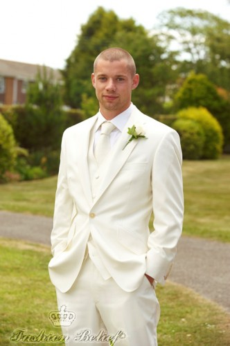 white wedding suit