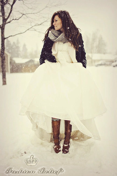 winter bride's wedding boots