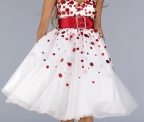 Red-and-white tailored dress designs