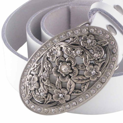 belt buckle with floral elements