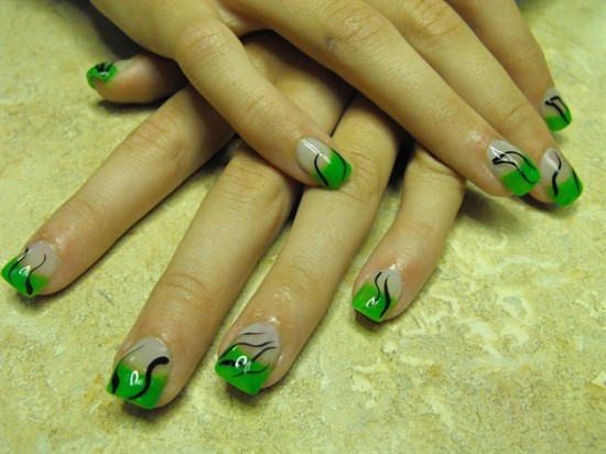 Nail art in fresh spring colors fashion belief this nail art is done by a professional using neon green acrylic on clear nail tips with black stripes to jazz it up a bit however you can create a prinsesfo Gallery